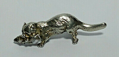 Antique Solid Sterling Silver Otter with Fish Wildlife Miniature Hallmarked