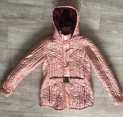 DKNY padded Belted Girls Long jacket with detachable Hood age 16 years