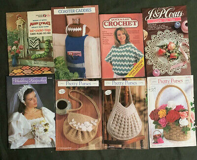 Lot 8 Crochet /Craft Tatting BOOKLETS & FLIERS WEDDING Purses Sweaters Flowers