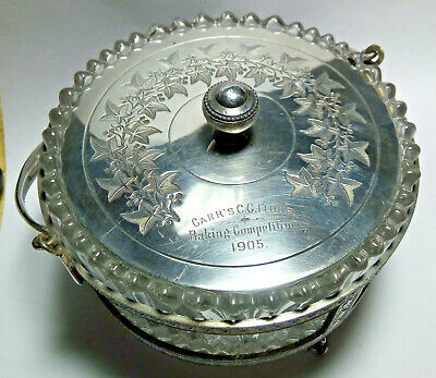 Antique Silver Plated & Glass Biscuit Box Baker's Trophy 1905 Stunning Item!