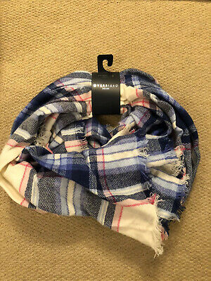 Joules Heyford Oversized Check Scarf blue/pink/cream - brand new with tags