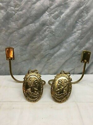 Vntg Brass Curtain Tie Backs Pair Hold Backs Victorian Lady Woman Cameo Tieback