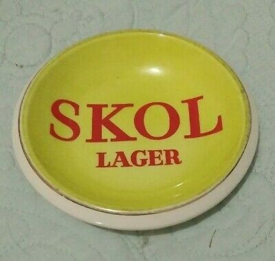 Vintage  SKOL Lager Nut Dish , Ashtray Yellow, Red
