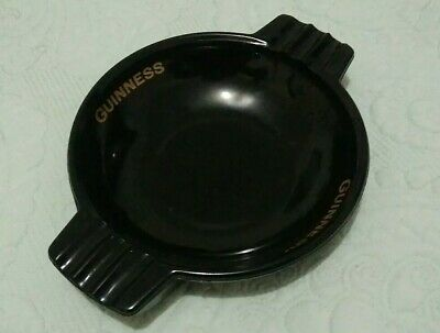 Guinness Black Glass & Gold Lettering Pub Ashtray Breweriana Mancave Beer Stout