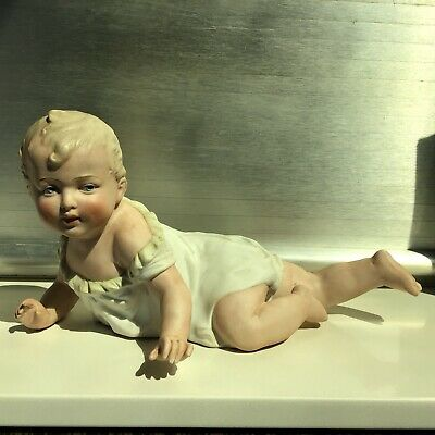 Rare Large Antique German Heubach Crawling Baby Boy Piano Doll