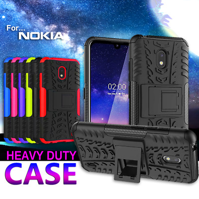 For Nokia 2.2 Shockproof Heavy Duty Case Cover + Tempered Glass Screen Protector