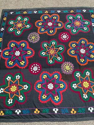 Antique Uzbek Vintage Wall Hanging Hand Embroidery Tablecloth Best Gift Suzani