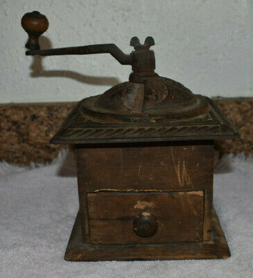 Antique  COFFEE GRINDER Dovetail Wood & Cast Iron Ornate Table Top Model