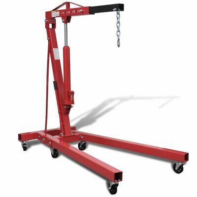 2T Hydraulic Folding Engine Crane Stand Heavy Parts Lift Hoist Winch Mover Dolly