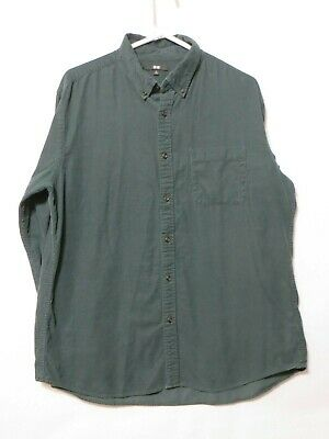 Uniqlo Mens Corduroy Button Down Shirt Teal green Long Sleeved Size XL