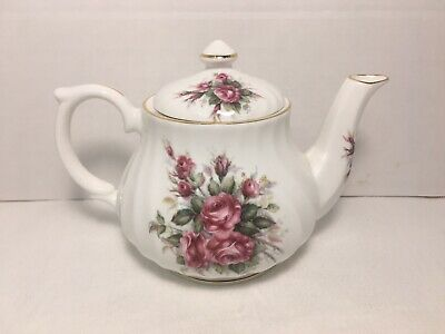 Golden Crown Fine Bone China Teapot Roses & Gold Trim Made in England