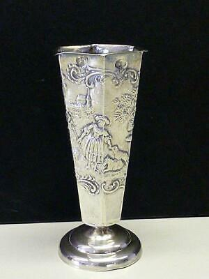 1892 Mary Lamb / Man Flute Cabinet Vase Miniature Sterling Silver Holland Dutch