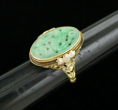 Big Antique Chinese Art Deco Carved Green Jade 14k Gold Filigree Ring - Size 8