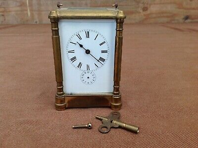 Antique Brass and Glass Carriage Alarm Clock with Key