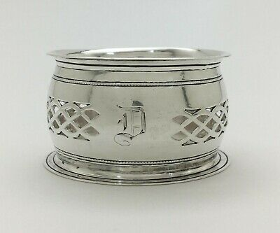 "Antique Fine English Openwork Sterling Silver Napkin Ring MB Birmingham 1906 ""D"""