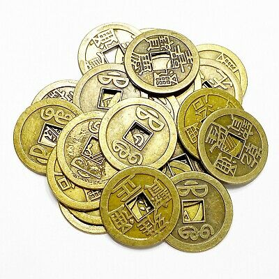 25 Chinese Qing Dynasty Blessing Brass Coins Feng Shui For Good Luck Protection