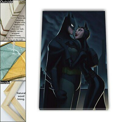"16""x24"" Batman Catwoman Paint HD Canvas print Framed Home decor Wall art Picture"