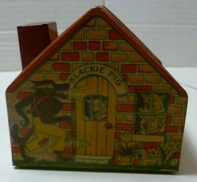 Three Little Pigs tin litho bank from the 1930's by J Chein