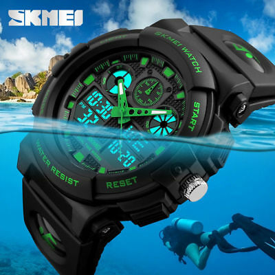 Men's Military Digital & Analog Date Alarm Waterproof Workout Sports Watch SKMEI