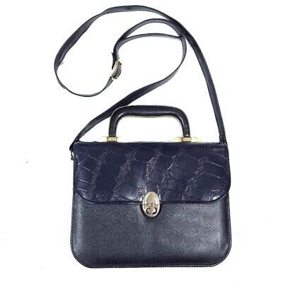 Vintage 1970's Navy Blue Square Secretary Purse Faux Crocodile Embossed Handbag