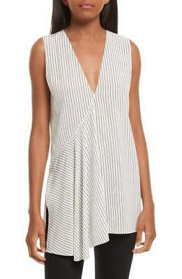 NEW THEORY Fluid Pinstripe Silk Top in White - Size P #T327