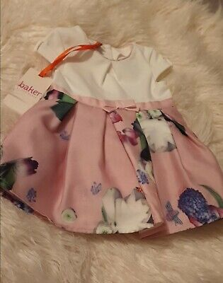 Baby Girls Ted Baker Dress Age 3-6 Months pink Floral Skirt White Top