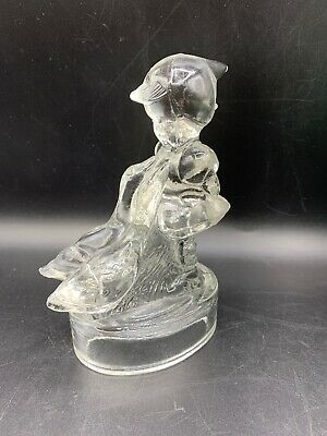 Mid Century L.E. Smith Glass Original Clear Goose Girl Figurine Circa 1950's