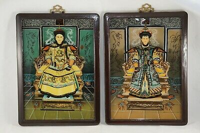 Emperor & Empress Reverse Paintings on Glass, China, ca. 1910