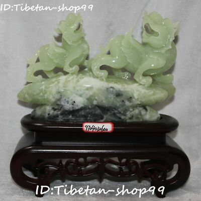 Unique China Pure Natural Green Jade Double 2 Dragon Pixiu Pi Xiu Brave Troops