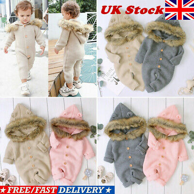 Kids Baby Girl Boy Knitted Long Sleeve Hoodie Romper Jumpsuit Winter Clothes UK
