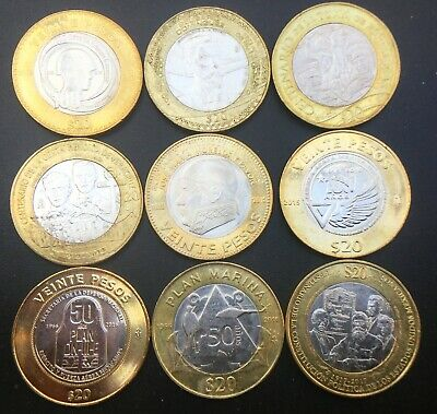 MEXICO $20 PESOS 2013-2017 COMPLETE SET of 9 COMMEMORATIVE NEW COINS incl. PLAN