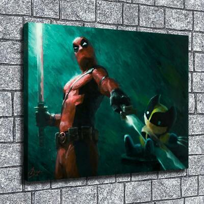 "12""x16""Double Blade Deadpool HD Canvas print Home decor Room Wall Art Pictures"