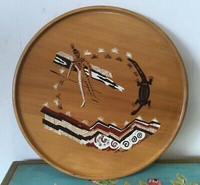 Fantastic  Vintage C 1970s Aboriginal Hand  Painted Wattle Woodwork