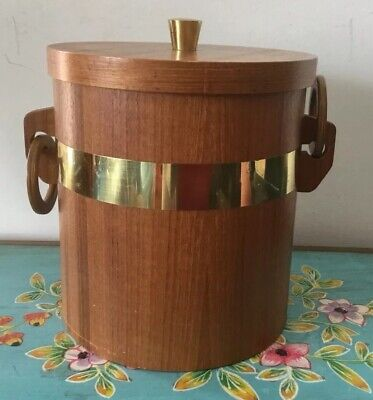 Vintage Retro Wooden Ice Bucket Made In Japan With Ice Tongs