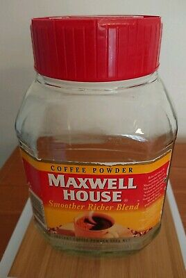 Vintage Large Maxwell House 500g Coffee Jar Retro Red Lid~Label Attached