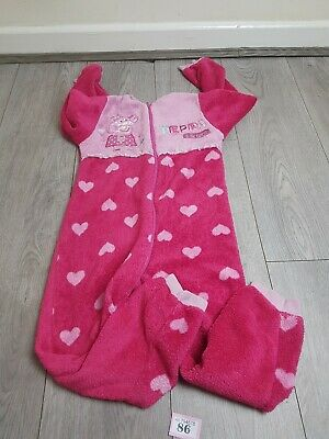 Girls Pink Peppa Pig All In One Fluffy Sleep Suit Age 5-6 Years
