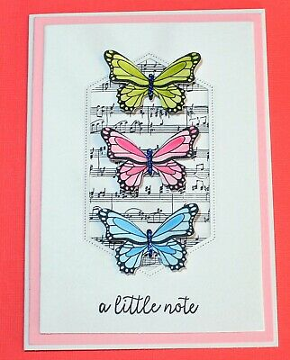 White A Little Note Handmade Card DIY Card Making Kit Colourful Butterflies