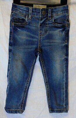 Baby Boys Peacocks Blue Whiskered Denim Skinny Stretch Jeans Age 12-18 Months