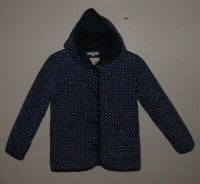 M&S Girls Stylish Navy Polka Dot Hooded Quilted Coat Age 6-7 Years