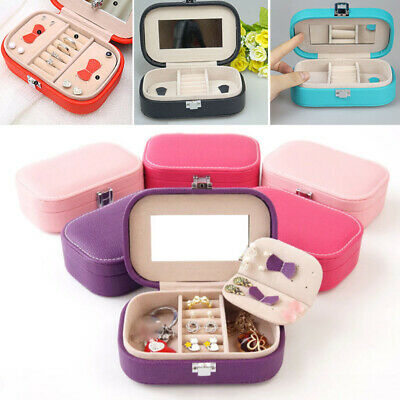 Small Travel Leather Jewellery Box Holder Storage Case Ear Ring Organizer Girls
