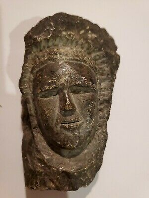 Carved Stone Face Figure Antique Artifact