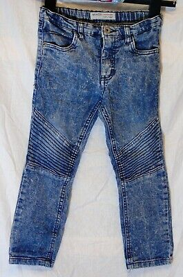 Boys Minoti Blue Acid Wash Denim Adjustable Waist Biker Jeans Age 4-5 Years