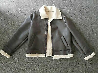Mango Dark Brown Faux Leather Shearling Borg Aviator Flying Jacket XXL NEW