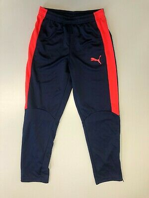 F248 Boys Puma Blue Pink Tapered Tracksuit Bottoms Age 13-14 Years W28-30 L30