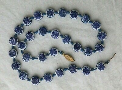 Vintage Chinese Blue and White Porcelain Bead Necklace