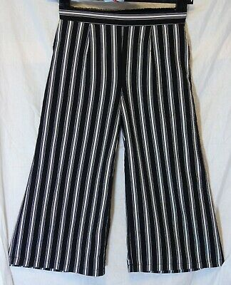 Girls New Look Black White Stripe Wide Leg 3/4 Cropped Trousers Age 10-11 Years