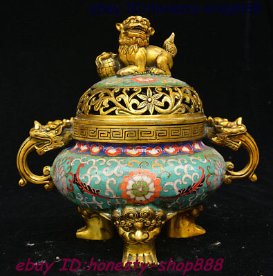Old Chinese Bronze Cloisonne Enamel Lion Dragon Head Beast Incense Burner Censer