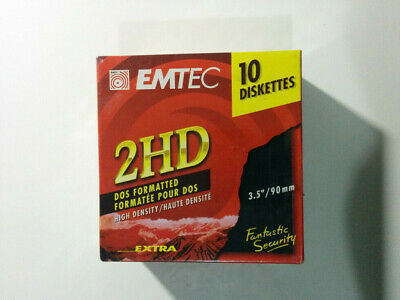 Emtec Diskettes 2Hd Dos Formatted New Sealed Box Of 10 High Density 3.5""