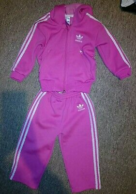 Adidas Original Girls Pink Tracksuit size 18 Months / 1.5 years