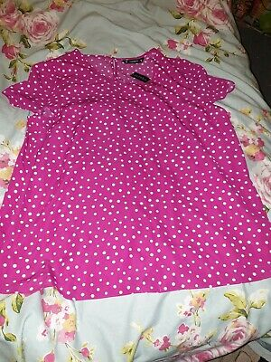 BNWT DUNNES LADIES 3//4 SLEEVE BUTTON FRONT COLLARLESS TOP SIZE UK 12  A7